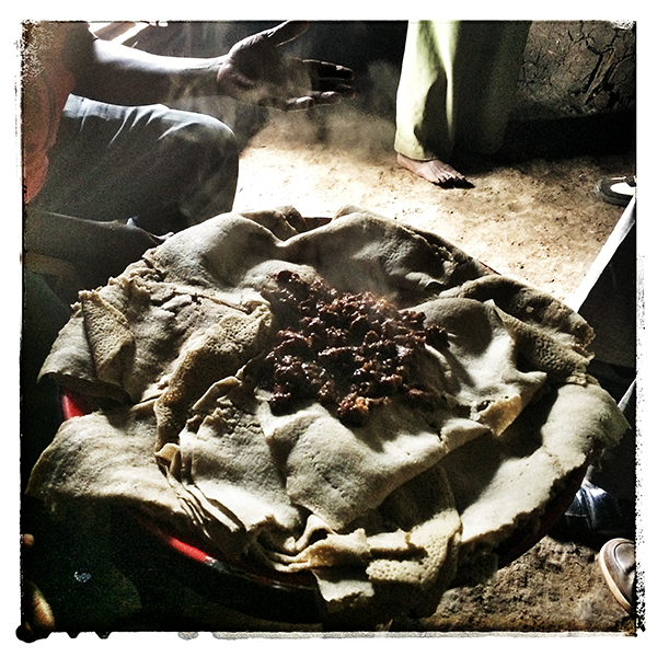 © 2016 Roberta Cappelli Arramo, Ethiopia. Meat and injera.